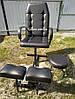 Черное кресло для педикюра с двумя подставками для ног и стулом мастера (глянец)