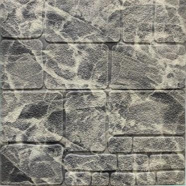 Мягкие 3D панели 700x770x7мм (самоклейка) Камень Черно-белый Мрамор