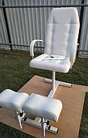 Белое кресло для педикюра с 2мя подставками для ног