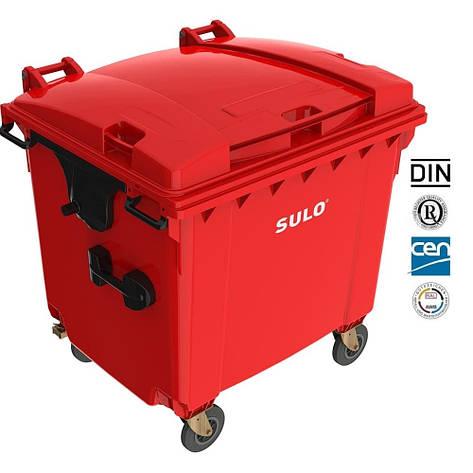 Євроконтейнер  Sulo з пласкою кришкою 1100 л. червоний, фото 2