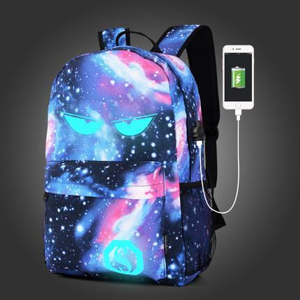 Рюкзак с глазами Senkey&Style синий городской светящийся Music с USB