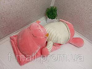 Плед м'яка іграшка 3 в 1 Бегемотик рожевий в бежевій тільнику (40)