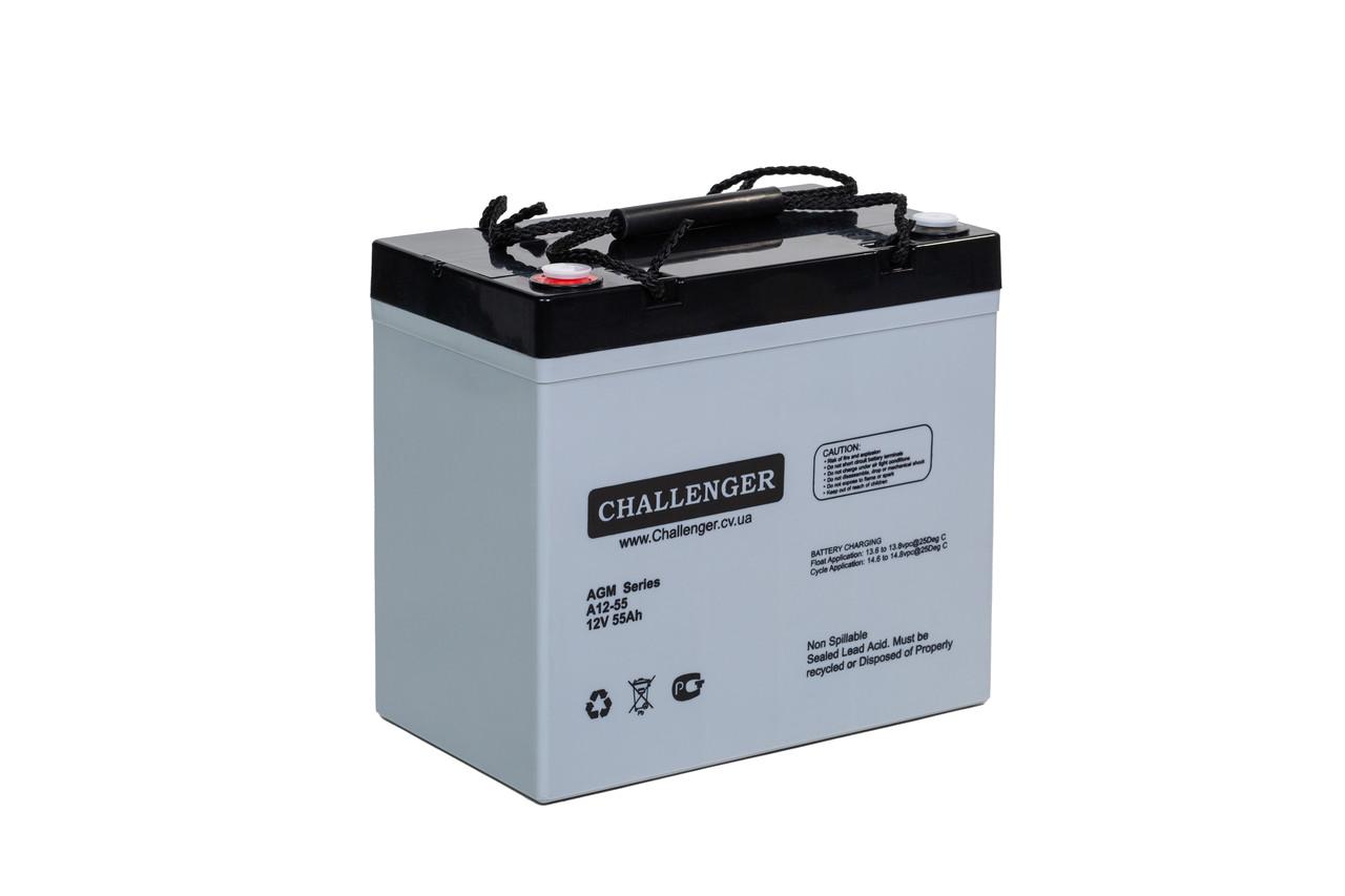 AGM аккумулятор Challenger A12-55 (12Вольт, 55 Ач)