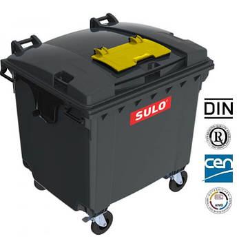 Євроконтейнер з кришкою в пласкій кришці 1100 л, Sulo чорний, фото 2