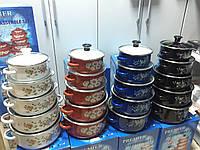 Набор эмалированных кастрюль с стеклянными крышками из 5 шт PREMIER PR-673, фото 1