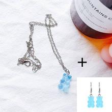 Мишки украшения голубые, кулон + серьги, размер мишки 1,6*1см, смола