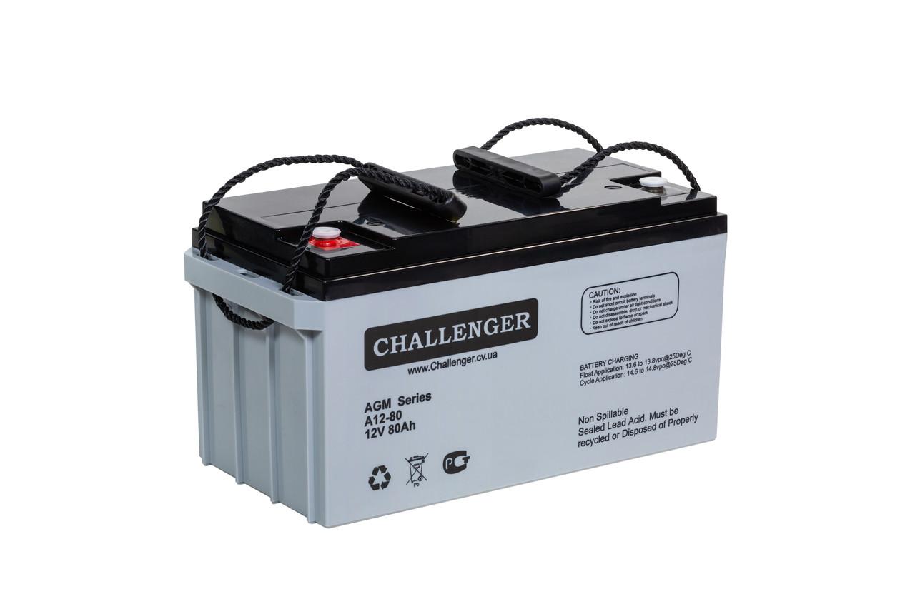 AGM аккумулятор Challenger A12-80 (12Вольт, 80 Ач)