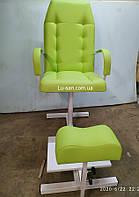 Салатовое кресло для педикюра с треногой и полкой для ванночки, фото 1