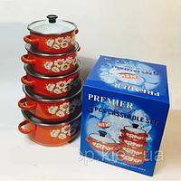 Набор эмалированных кастрюль с стеклянными крышками из 5 шт PREMIER PR-673  Красный