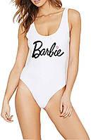 Белый сплошной купальник Barbie білий суцільний купальник