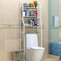 Стеллаж-стойка для туалета (металл, белый, TM-101) этажерка-органайзер над унитазом (полки в туалет), фото 1