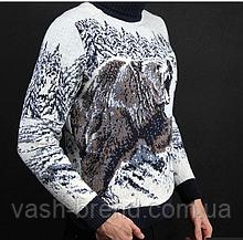 Чоловічий шерстяний светр з натуральної овечої вовни ягнят Lambswool з високим горлом і вишитим ведмедем