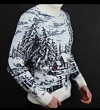 Мужской шерстяной свитер из натуральной овечьей шерсти ягнят Lambswool с высоким горлом и вышивкой
