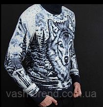 Чоловічий шерстяний светр з натуральної овечої вовни ягнят Lambswool з високим горлом і вишивкою Вовк