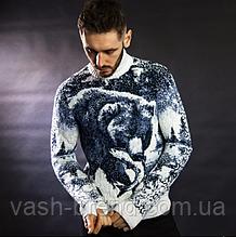 Чоловічий шерстяний светр з натуральної овечої вовни ягнят Lambswool з високим горлом і вишивкою вовка