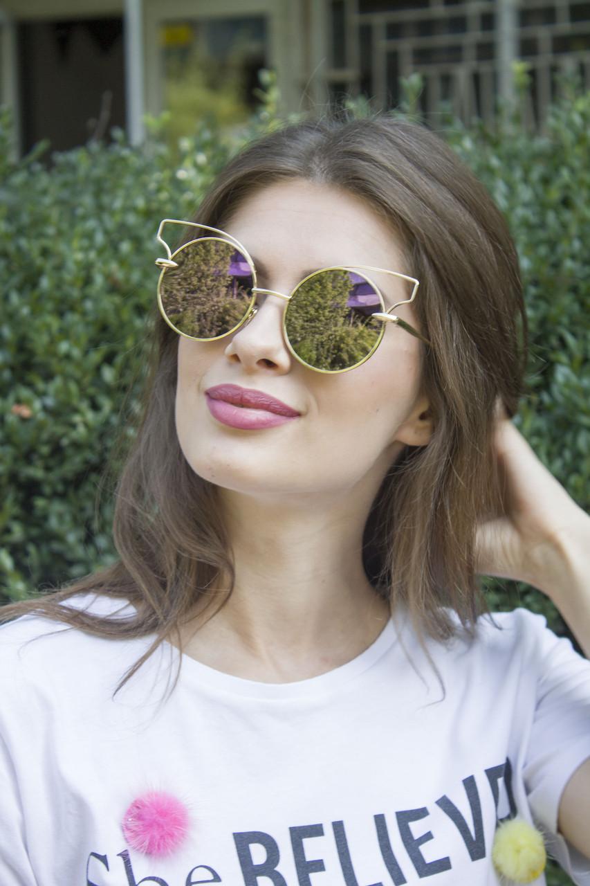 Солнцезащитные женские очки 1180-1 фиолетовое напыление