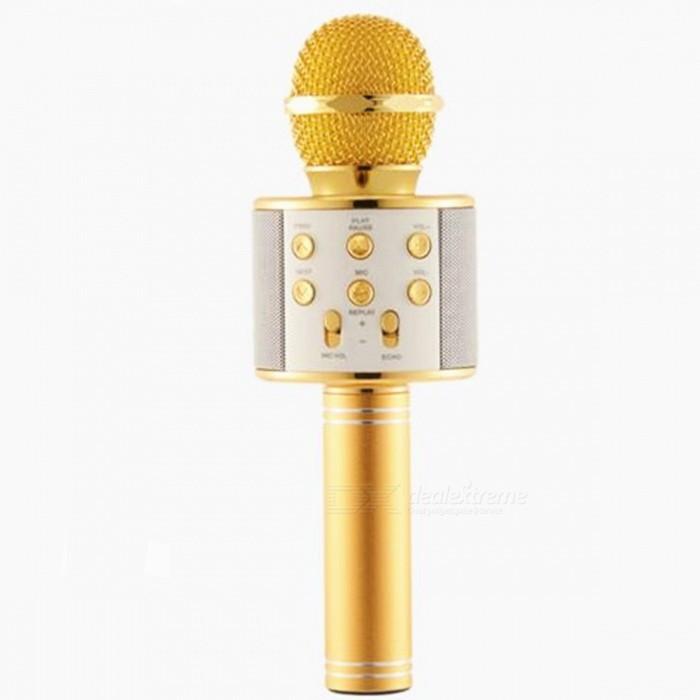 Беспроводной Bluetooth Караоке-микрофон WS-858 с чехлом золотой