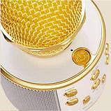 Беспроводной Bluetooth Караоке-микрофон WS-858 с чехлом золотой, фото 5