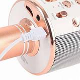 Беспроводной Bluetooth Караоке-микрофон WS-858 с чехлом золотой, фото 7