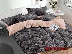 Двуспальный набор постельного белья 180*220 из Сатина №1055AB Черешенка™