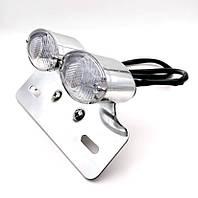Задній ліхтар з поворотами LED Pazoma, фара-стоп для мото, кастом,каферейсери, універсальна, 12 В Хром