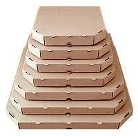 Коробка картонная под пиццу квадратная 350х350х40 мм. бурая крафт