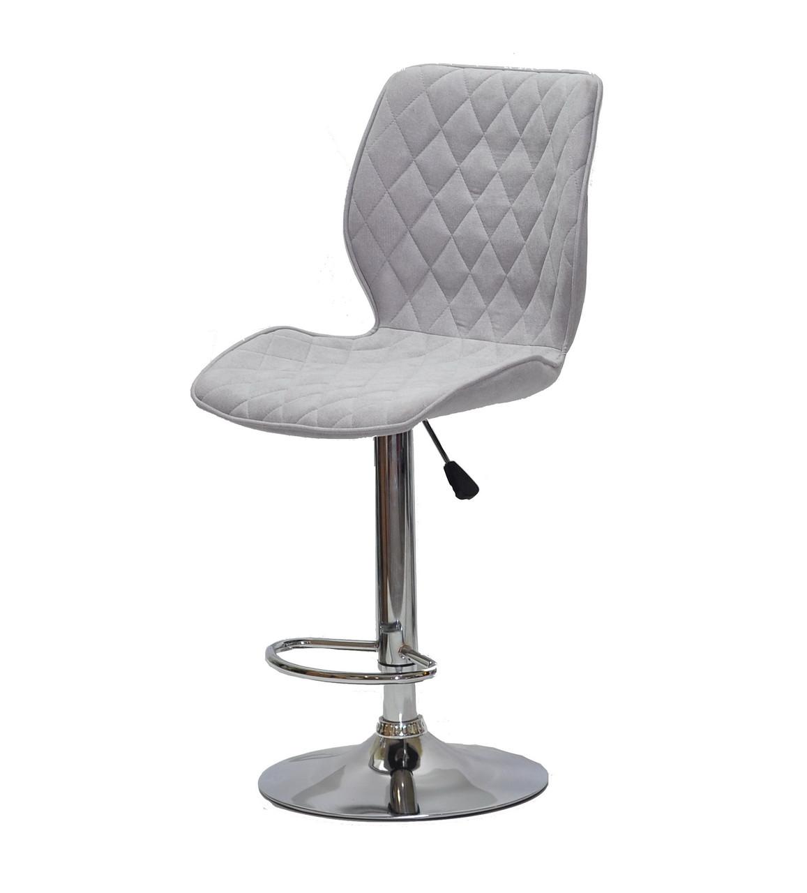 Светло-серое кресло с подножкой материал шенилл на хромированном круглом основании (блине) Toni CH - Base