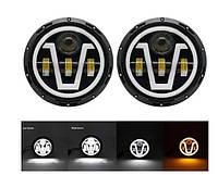 Комплект супер LED фар! 100W. Светодиодные лэд фары 7 дюймов 18 см. ВАЗ 2101, ГАЗ 24, ВАЗ 2121, УАЗ и другие