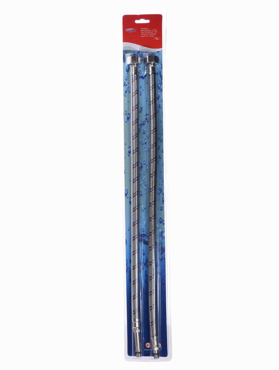 "Шланг для смесителя Solomon (нерж.) М10х1/2"" 1,0м (HY6201 A+B)  ПАРА в блистере"