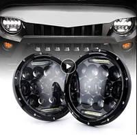 Оптика Нива ВАЗ 2121,ВАЗ 2101, ГАЗ 24, УАЗ. Комплект светодиодных лэд фары 7 дюймов.