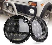 Фара в родное место оптика Нива ВАЗ 2121,ВАЗ 2101, ГАЗ 24, УАЗ. LED (лэд) фара 7 дюймов. (цена за 1 фару)