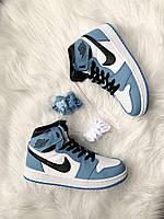 Кроссовки женские Nike Air Jordan 1 Retro High University Blue Найк Аир Джордан Голубые высокие