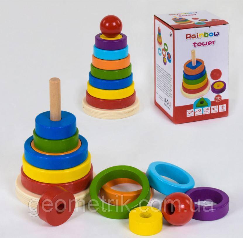 Деревянная Пирамидка (кольца, обручи, шар) в коробке арт. C39166 (Fun Game)