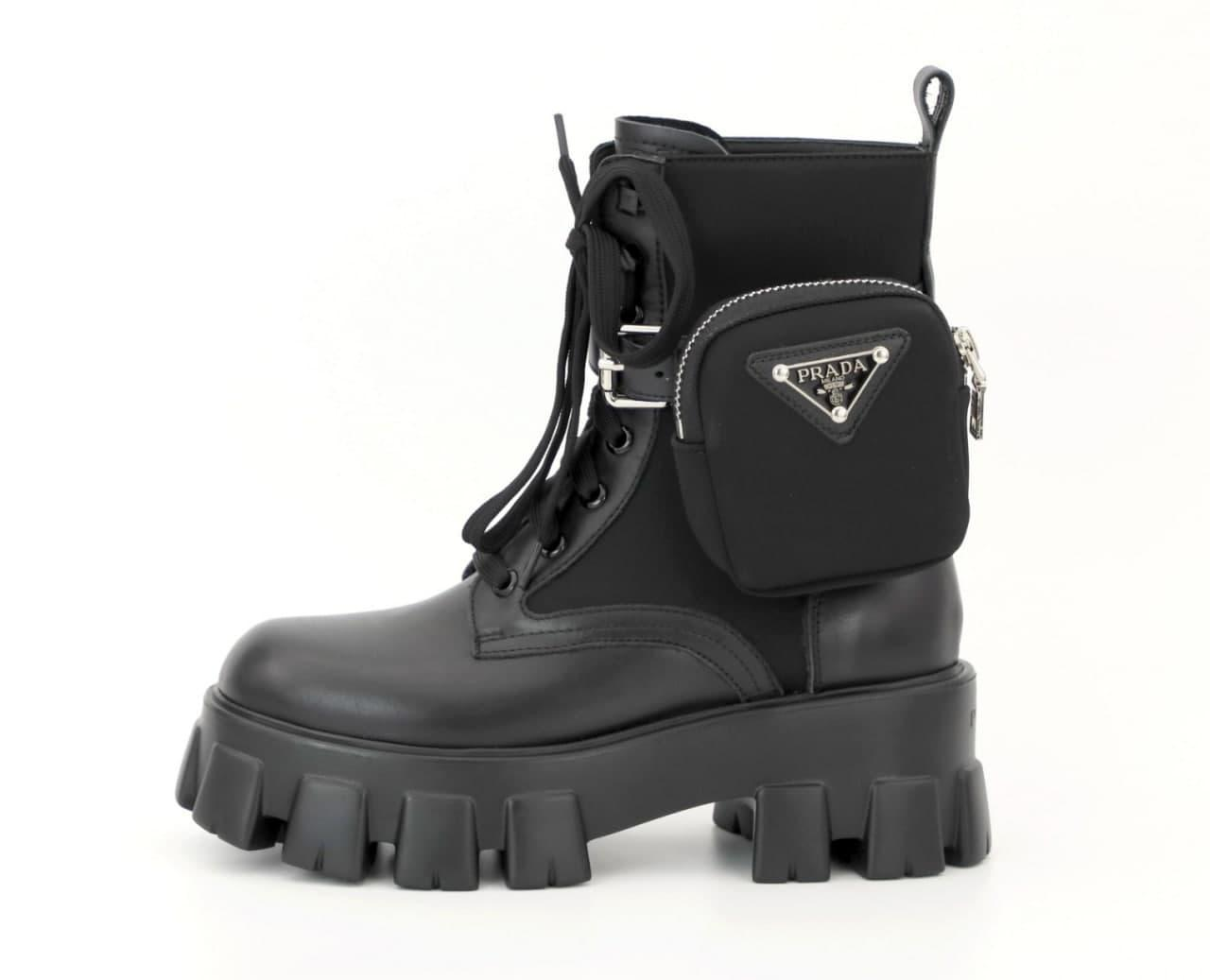 Женские ботинки Prada Leather Boots Nylon Pouch кожаные
