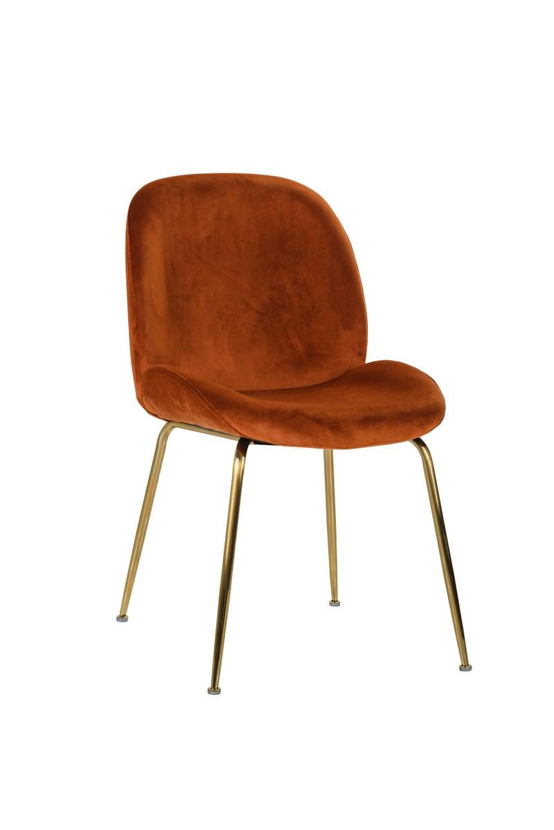 Стул в гостиную, обеденный стул в цвете обивки медный вельвет на золотых ножках