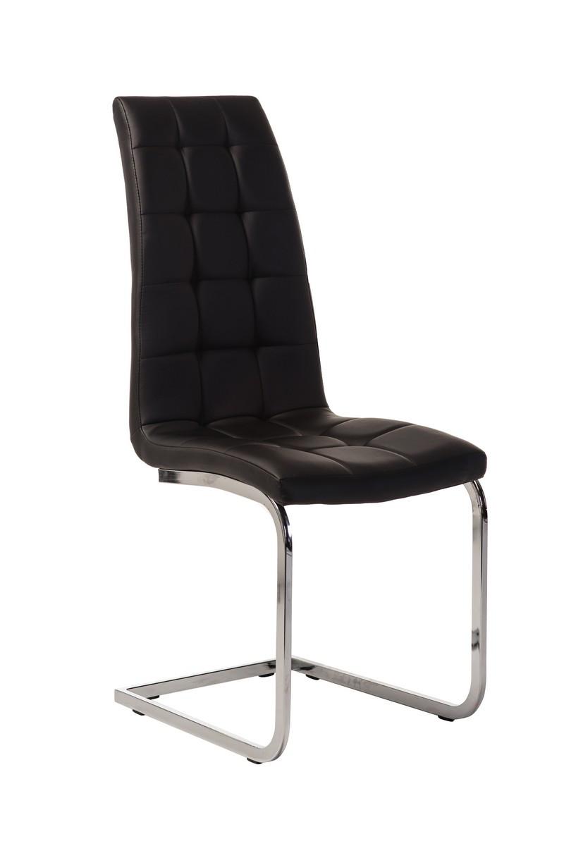 Черный стул эко-кожа с высокой стеганной спинкой