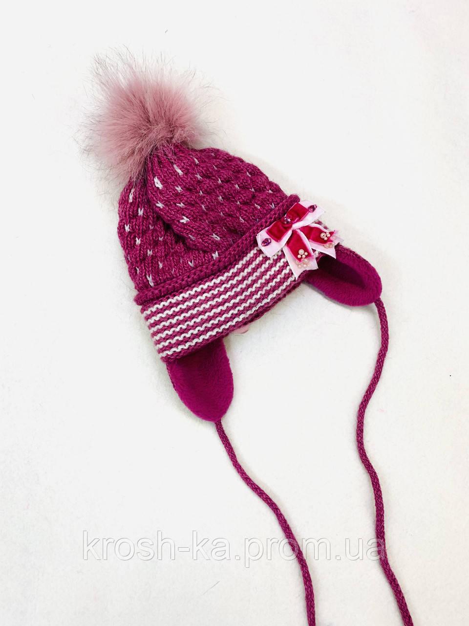 Шапка для девочки (44-48)р на завязках розовый Pilguni Польша 19-212