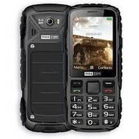 Кнопочный телефон влагозащищенный, черный, тонкий с большим дисплеем Maxcom MM920 Black рус.кнопки