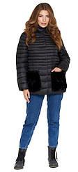 Женская осенне-весенняя куртка черная прямого силуэта модель 842