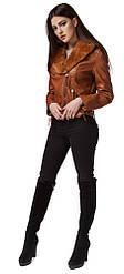 Женская куртка коричневого цвета осенне-весенняя модель 25692