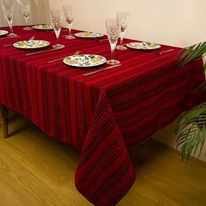 Скатерть вышитая на стол от 375 грн 182х145 см, Скатерть, бордо-красный