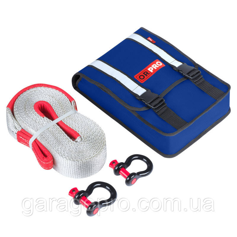 Компактный такелажный набор: динамическая рывковая стропа 12000 кг с шаклами (Синяя сумка для стропы)