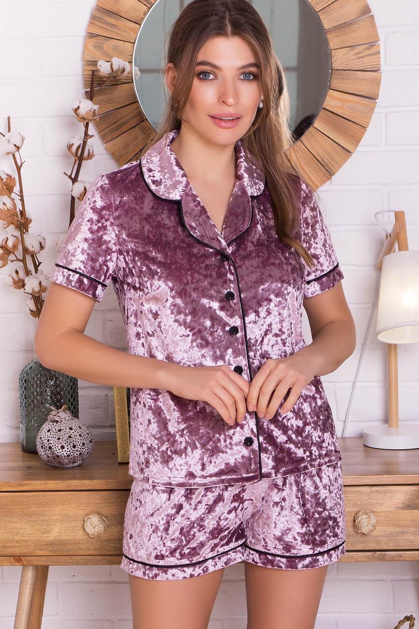 Женский домашний костюм с шортами лиловый Нурия