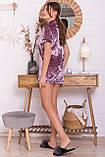 Женский домашний костюм с шортами лиловый Нурия, фото 3