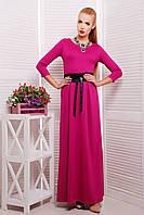 Яркое малиновое платье в пол с поясом, фото 1