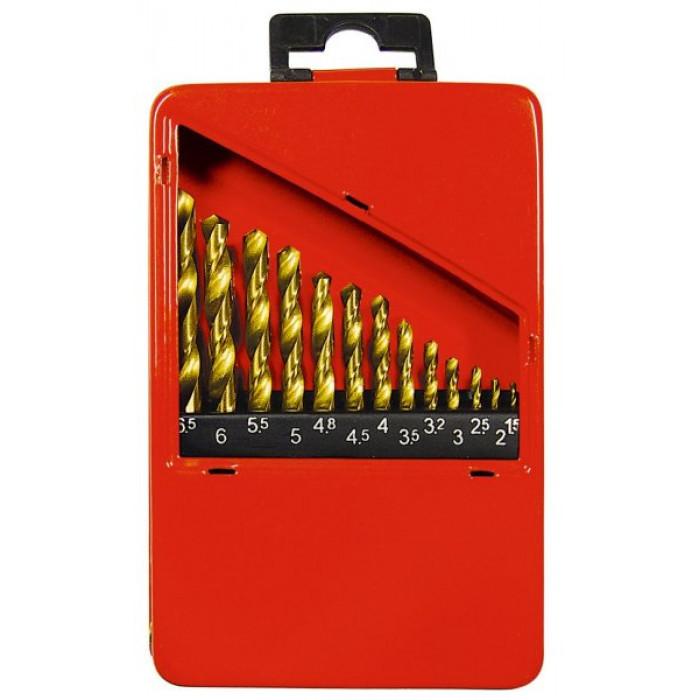 Набір нітридт. свердел по металу, 1,5-6,5 мм (через 0,5 мм +3,2 мм; 4,8 мм), НSS, 13 шт.// MTX