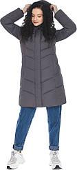 Теплый графитовый пуховик женский зимний модель 21025