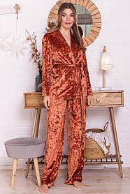 Шикарный домашний костюм из мраморного велюра Размеры S M L XL