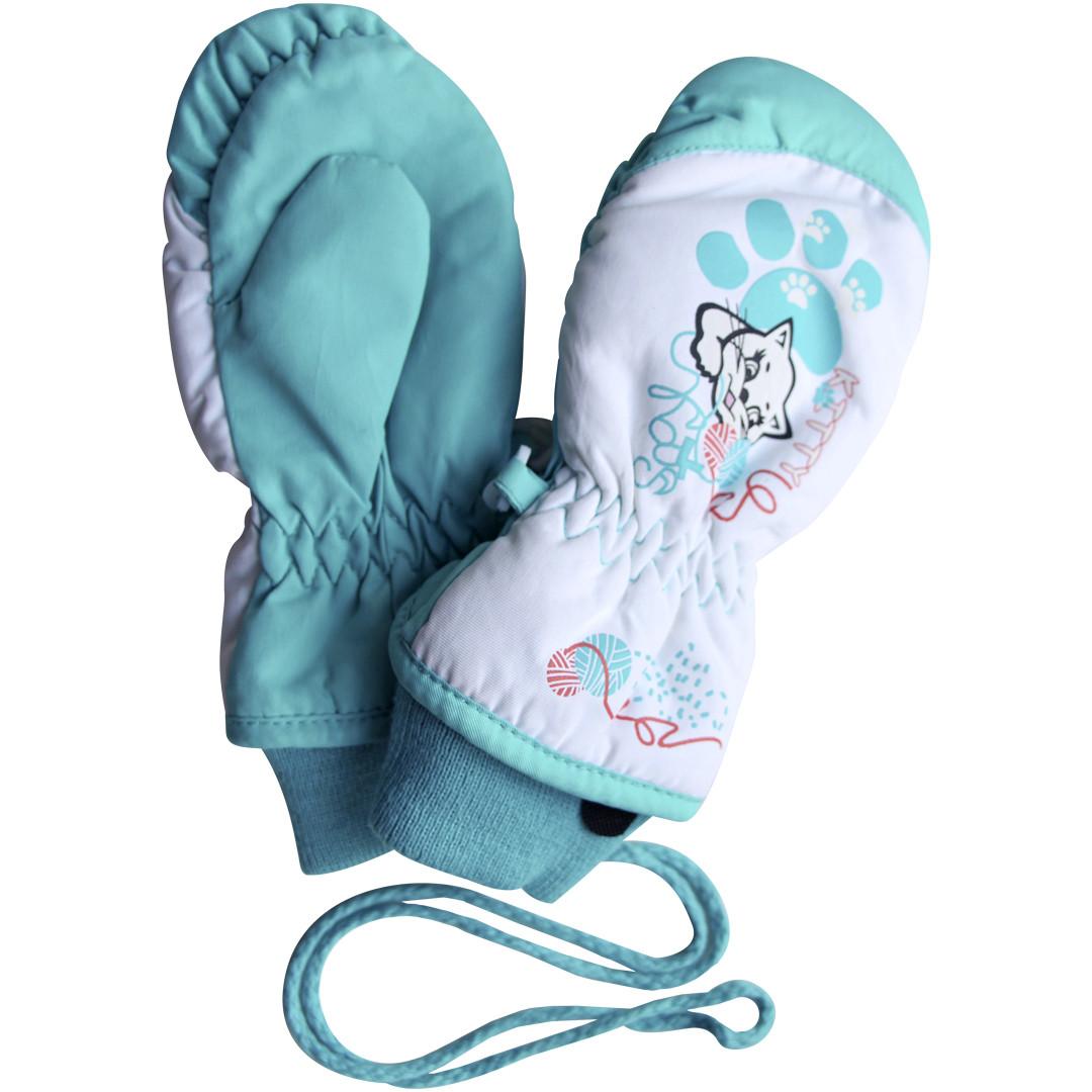 Детские зимние непромокаемые термоварежки для девочки 2-4 года бирюзовые