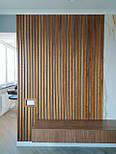 Декоративні дерев'яні рейки. Дерев'яні рейкові панелі. Рейкові перегородки., фото 3
